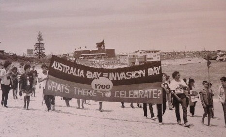 Protest march on La Perouse beach, against the first fleet re-enactment, 1988