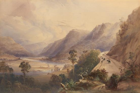 Pass above Wiseman's Ferry, Hawkesbury River by Conrad Martens 1839. NLA