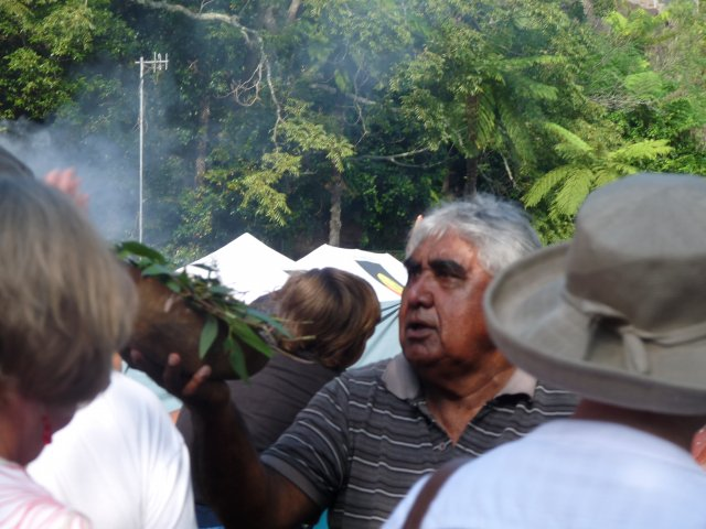 Uncle Ivan Wellington at Smoking Ceremony, Appin Massacre Memorial, 2013