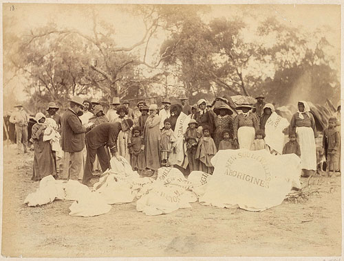 Annual distribution of blankets 1890s. Location unknown.