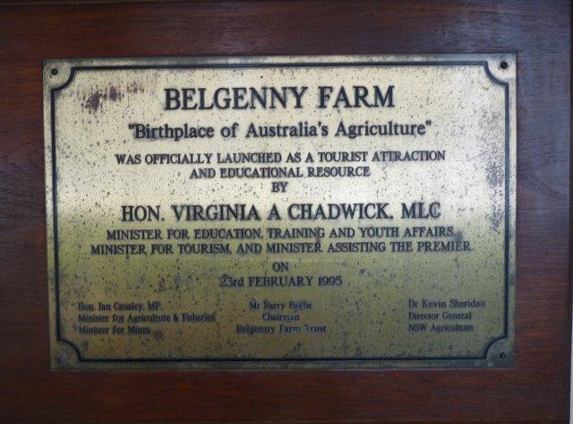 Belgenny Farm Plaque