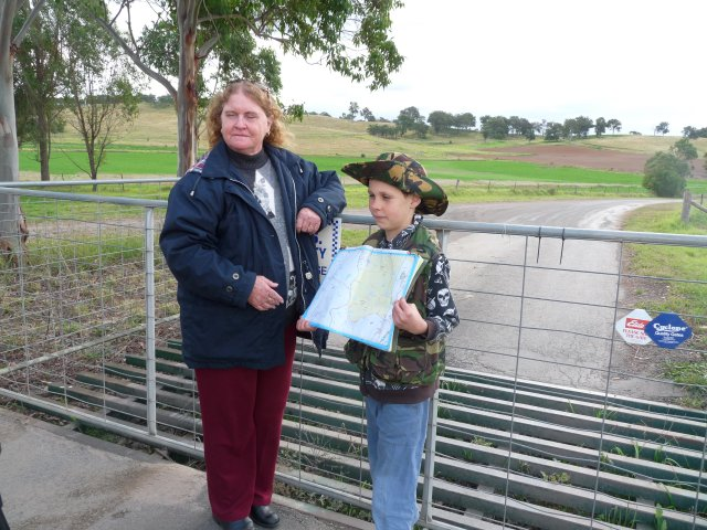 Auntie Glenda Chalker explaining map of Country with Spencer