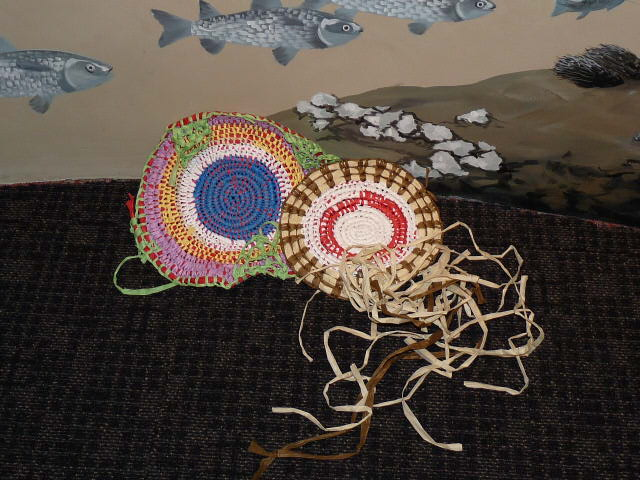 Baskets and mats woven by Pam Young