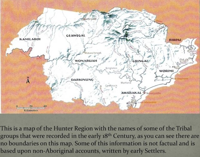 Historic boundaries of the Hunter Valley Aboriginal people.  Courtesy Wonnarua Nation Aboriginal Corporation 2014