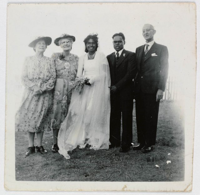Mrs Irving, Mrs Retta Long, bride Aileen Willis, groom Don Brady and Mr Irving. Wedding at Cherbourg AIM, 1952. SLNSW
