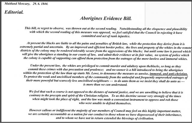 Aborigines Evidence Bill 1844. Courtesy Carl Hoipo, Wollombi Historical Society