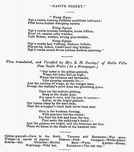 "Native Poetry ""Nung-Ngun"". Song composed by Wullati (Wollaje) and translated by Eliza Dunlop, Wollombi. Waughs Almanac 1858"