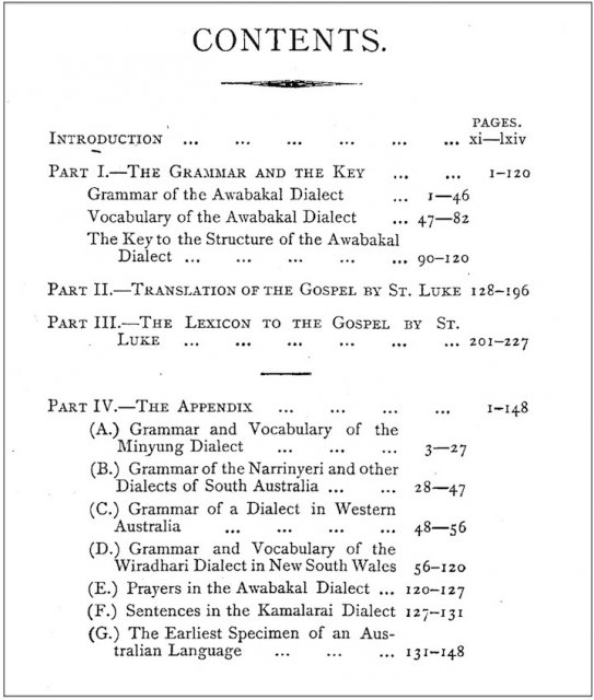 An Australian Language spoken by Awabakal, Threlkeld 1850 edited by John Fraser 1892. Contents. Univ of Newcastle.