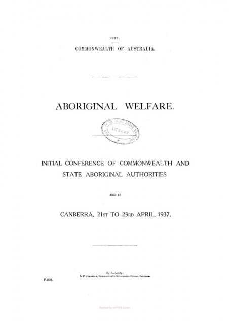 Aboriginal Welfare Conference Cover - 1937. AIATSIS