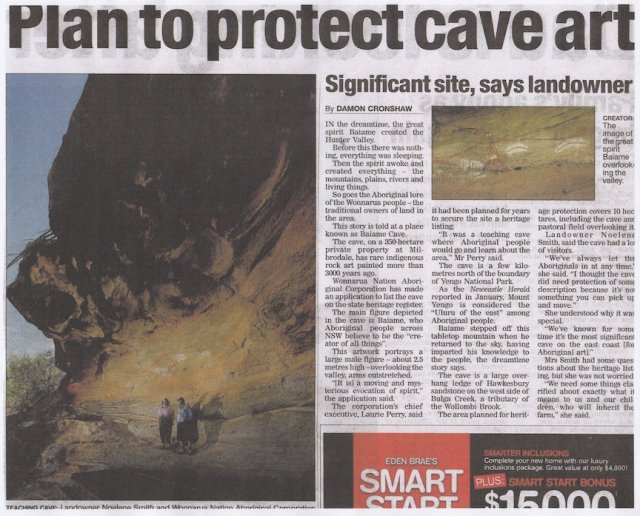 Plan to Protect Cave Art, Milbrodale - 2014