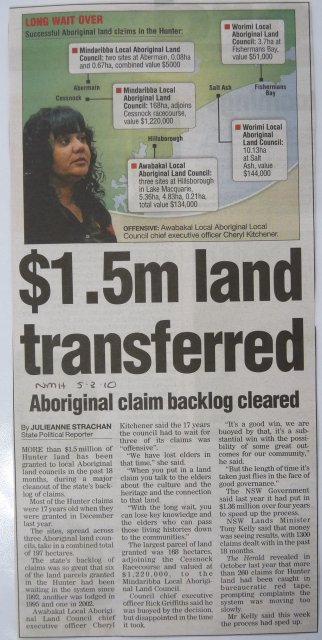 Successful Aboriginal land claims, Hunter Valley. Newcastle Herald 2010.