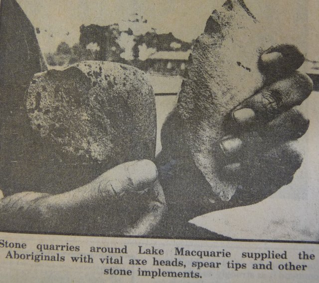 Lake Macquarie stone quarries & implements. Newcastle Library