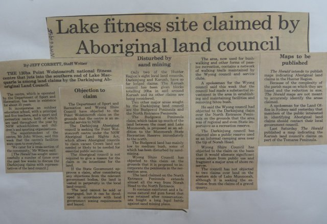 Lake Macquarie land claims. Newcastle Herald 1985.  Newcastle Library.