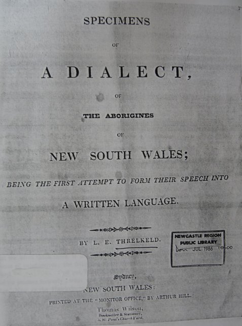 Dialect of the Aborigines (Lake Macquarie) by L.E Threkeld, c1827