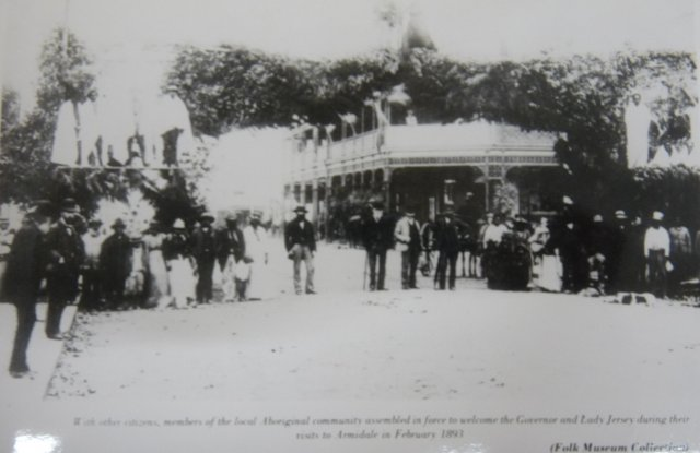 Aboriginal people welcome Gov & Lady Jersey to Armidale Feb 1893. Newcastle Library.
