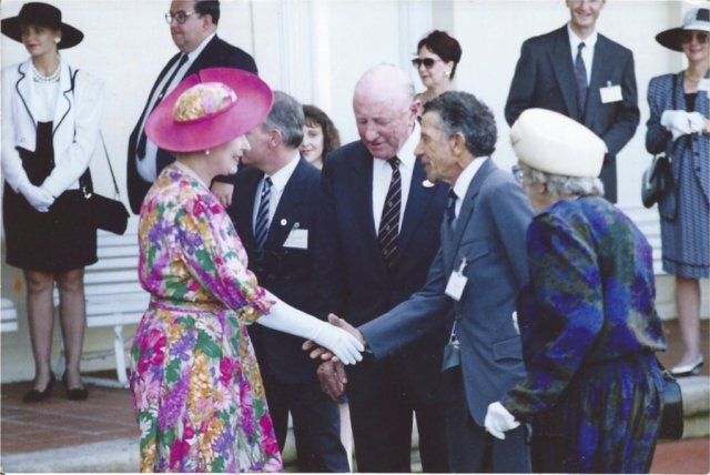 Merv Maynard finally introduced to the Queen, 1992