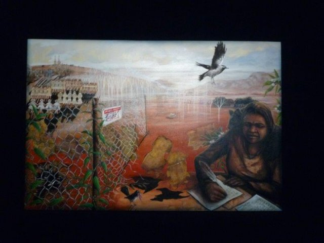 Artwork by Leanne Tobin, Darug Artist, The Native Institute Exhibition 2013, Blacktown