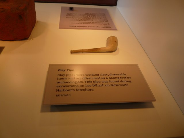 Clay pipe from Lee Wharf Newcastle. Newcastle Museum 2014.