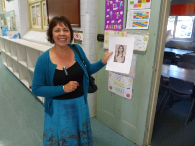 Karen Maber outside her classroom from 1975 at Sans Souci Public School