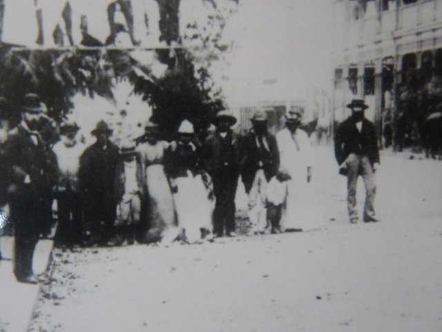Aboriginal people welcome Gov & Lady Jersey to Armidale Feb 1893 (detail). Newcastle Library.