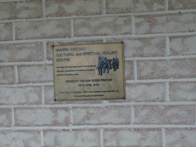 Cultural and spiritual healing centre plaque